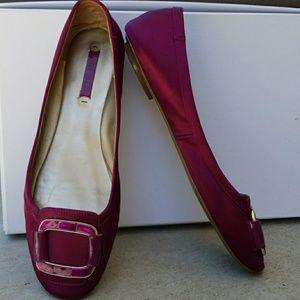 Nine West leather satin ballet flats shoes slipper